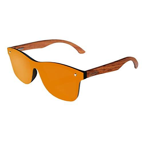 Limitless Wooden Sunglasses, Wooden Retro Frameless Sunglasses, Vintage Mirror UV400 Polarized Rimless Eyewear (Retro Orange, ()