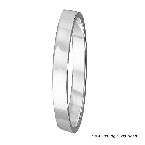 3mm Men & Women Sterling Silver FLAT Wedding Band Ring, High Polish Finish (6) - Design Flat Band