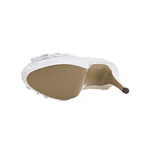 Hauteur Bout Chaussures La De Talon Étanche Plate Du Sandales Dentelle Mariage Ouvert Bouche Forme 12Cm Mode Blanches Strass Poisson Femmes White Stiletto De Aqnw7t65U
