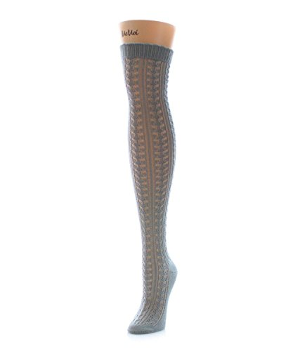(MeMoi Pointelle Over The Knee Warm Socks Paloma Gray MS5 802 One Size)