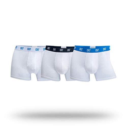 Cristiano Ronaldo CR7 Men's 3-Pack Trunk Cotton Stretch,White/Sky/Navy, Large (Underwear Boss Boxer)