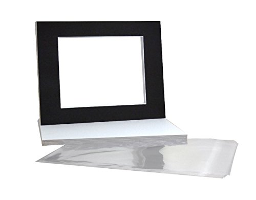 Golden State Art, Pack of 10 Black Pre-Cut 11x14 Picture Mat for 8x10 Photo with White Core Bevel Cut Mattes Sets. Includes 10 Acid-Free Bevel Cut Mats & 10 Backing Board & 10 Clear Bags