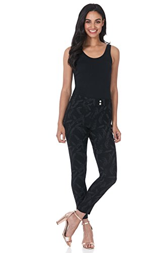 Rekucci Women's Ease in to Comfort Slim Ankle Pant with Snaps (16,Black/Graphite Flower Jacquard) ()