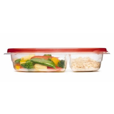 Rubbermaid TakeAlongs 3.7 Cup Divided Rectangle Containers -