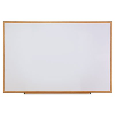 Dry-Erase Board, Melamine, 72 x 48, White, Oak-Finished Frame, Sold as 1 Each by Universal One