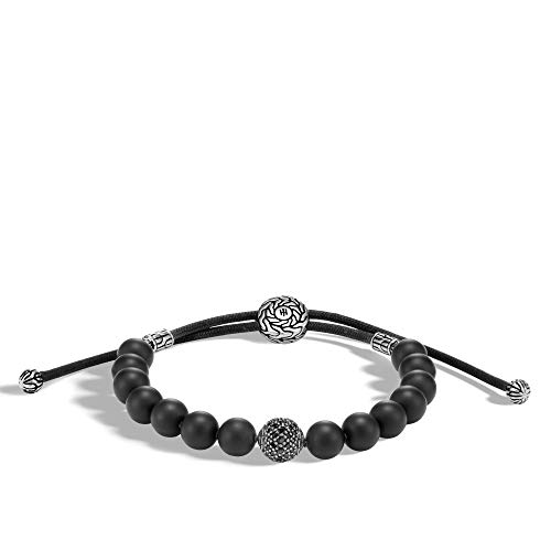 John Hardy Men's Classic Chain Silver Pull Through Bracelet on 2mm Black Cord with Black Sapphire and 8mm Black Onyx, Size M Adjustable to L