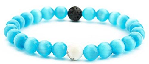 Hamoery Men Women 8mm Tiger Eye Stone Beads Bracelet Elastic Natural Stone Yoga Bracelet Bangle(Blue Cat Eye (Cat Eye Green Bracelet)