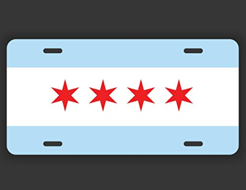 Decals Home Decor & More Chicago Illinois Flag License Plate Tag Vanity Novelty Metal | UV Printed Metal | 6-Inches By 12-Inches | Car Truck RV Trailer Wall Shop Man Cave | VLP076