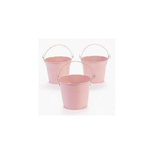 12 Pastel Pink Tinplate Pails New