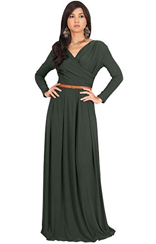 KOH KOH Womens Long V-Neck Sleeve Sleeves Fall Formal Flowy Floor Length Evening Casual Day Modest Abaya Muslim Gown Gowns Maxi Dress Dresses, Olive Green L 12-14 ()