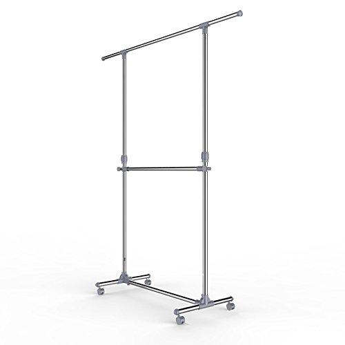 Songmics Kleiderständer Garderobenständer mit Rollen Höhenverstellbar von 113 bis 198 cm LLR401