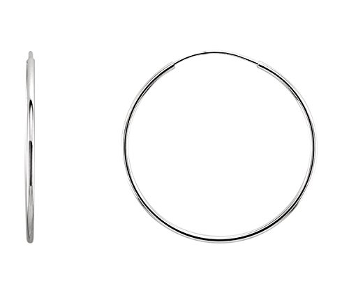 14K Gold Thin Continuous Endless Hoop Earrings (1mm Tube) (24mm - White Gold)