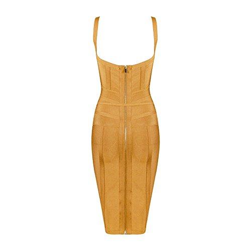 Lacing HLBandage Gelb Neck V Bandage Strap Sashes Spaghetti Dress Rayon Women's Strap w0FHSqU