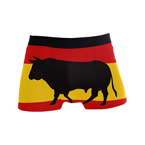 ZZKKO Spanish Flag Bullfighting Mens Boxer Briefs Underwear Breathable Stretch Boxer Trunk with Pouch L Yellow - Mens Pouch Bull