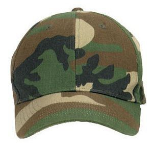 Mens Baseball Cap - Low Profile, Woodland Camo, Adjustable by Rothco ()