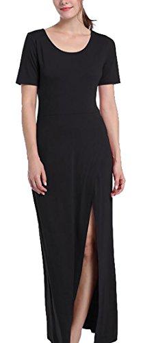 Jaycargogo Casual Black Maxi Dress Womens Summer Split Sleeve Short Side wOBwEqfr
