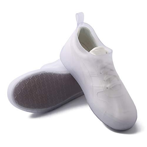 SaphiRose Waterproof Rain Shoe Covers Reusable Slip-Resistant Rain Boot Galoshes Overshoes White-7720 XXL (Men 11-12.5, Women 12.5-13.5)