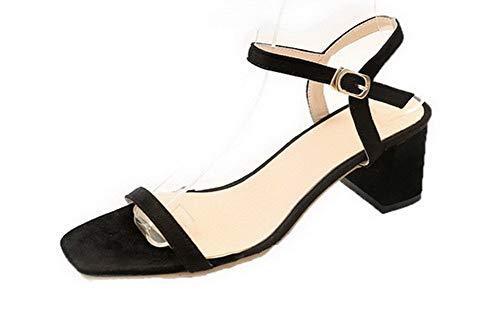 TSFLH008029 Sandales d'orteil Unie Femme AalarDom à Boucle Noir Ouverture Couleur Talon Correct w6wq1vT