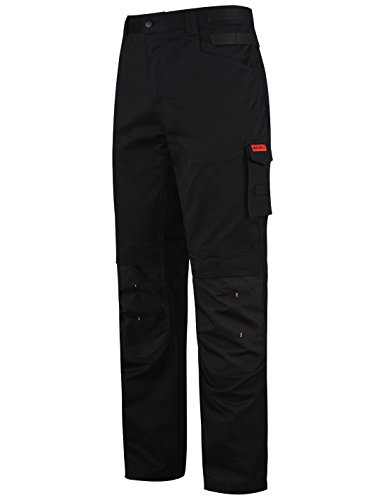 HARD LAND Men's Ripstop Work Pants Straight Fit Outdoors Cargo Pants with Knee Pad Pocket Black Size 32Wx32L -