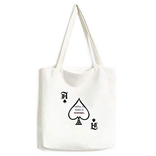 Frailty Names Woman Shakespeare Handbag Craft Poker Spade Washable Bag