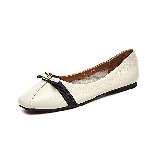 Planos Planos Flojos Zapatos Casuales Nuevos Zapatos Zapatos Solteros para Pedalear Beige AIMENGA 7wtFqp5Rw
