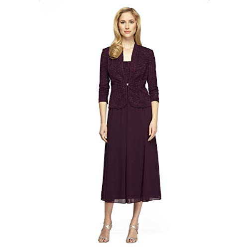 - Alex Evenings Women's Tea Length Blazer Jacket Dress (Petite and Regular), Eggplant Sparkle, 8