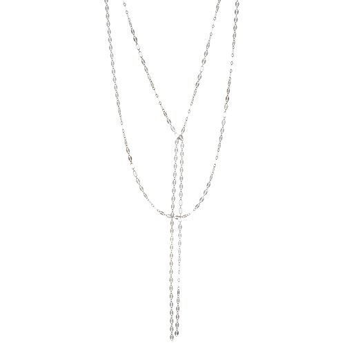 Women's Sterling Silver Oval Link Tassel Double Layered Drop Necklace (White Gold) (How To Make A Halo Costume)
