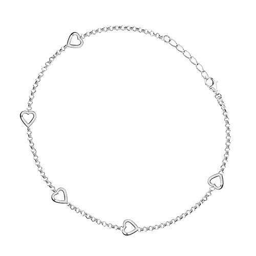 (Sterling Silver or 14k Gold Mini Sideways Open Hearts Adjustable Foot Chain Anklet Ankle Bracelet 10 Inches)