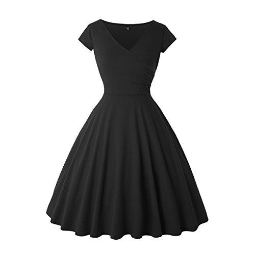 JOHEAVA Women's Classic Cocktail Party Cap Sleeve Deep V Neck Knee-Length Fit and Flare Dress, Black, -