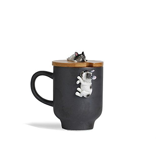 French Bulldog Mug with Funny Bamboo Lid,Handcrafted 3D Cute Sleep French Bulldog Figurine Ceramic Tea Milk Cup for Mother's Day Gift-(12oz,350ML) (Black, Sleep French Bulldog)