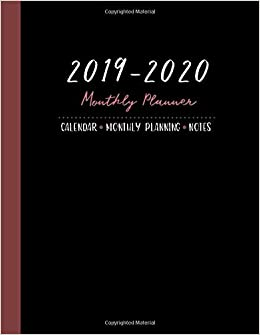 2019-2020 monthly planner: two year planner big size 8.5