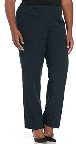 Kasper Women's Plus Size Stretch Crepe Slim Pant, Fir Green (20W) by Kasper