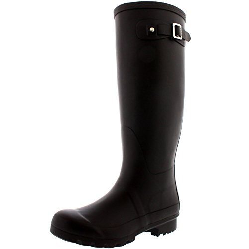 Womens Original Tall Snow Winter Waterproof Rain Wellies Wellington Boots - 9 - BRO40 BL0025