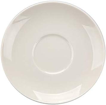 Set of 6 Royal Genware Saucer Black 16cm Black Porcelain Saucer for Chic Barista Coffee Service