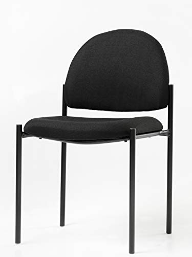 Office Factor Stackable Guest Chair, Fabric Upholstered Waiting Room Chair for Business, Doctor's Office, Lobbies, Extra Seating (Black-Fabric NO ()