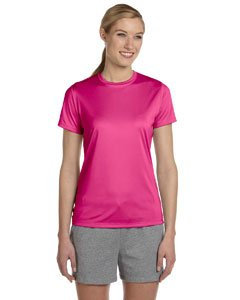 Hanes Women's Polyester Cool Dri T-Shirt - WOW PINK - XXX-Large - Cool Womens Pink T-shirt