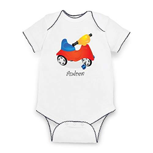 Personalized Custom Kid's Bike Cotton Short Sleeve Envelope Neck Boys-Girls Baby Bodysuit Fine Jersey Picot - White Navy, Newborn