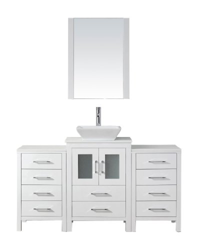 Virtu USA Dior 60 inch Single Sink Bathroom Vanity Set in White w/Square Vessel Sink, White Engineered Stone Countertop, Single Hole Polished Chrome, 1 Mirror - ()