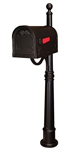Special Lite Floral Curbside Mailbox with Ashland Mailbox Post Unit - Black by Special Lite Products Company, Inc.