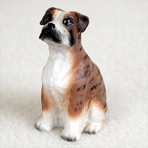 - Boxer Brindle w/Uncropped Ears Dog Figurine, Height Approx. 2 Inches