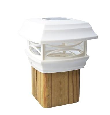 Moonrays 91254 Solar-Powered Post Cap LED Light for Wooden 4 x 4 Posts, White