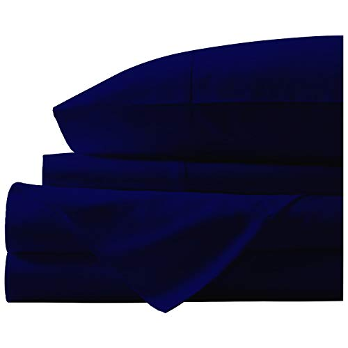 "(Luxury Ultra-Soft 4 Pc Natural Bamboo cotton bed 600 TC sheet set with 19"" Deep Pocket Durable Breathable Long Staple Eco-Friendly Italian Finish by NEW YORK MERCADO (Queen, Navy Blue))"