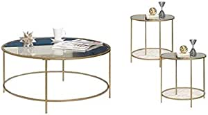 Amazon Com Home Square 3 Piece Coffee Table Set With Classic Look Coffee Table And Set Of 2 End Tables In Gold Metal Construction And Glass Top Furniture Decor