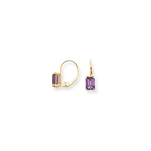14k Yellow Gold Polished Leverback 7x5mm Emerald-Cut Amethyst Earrings