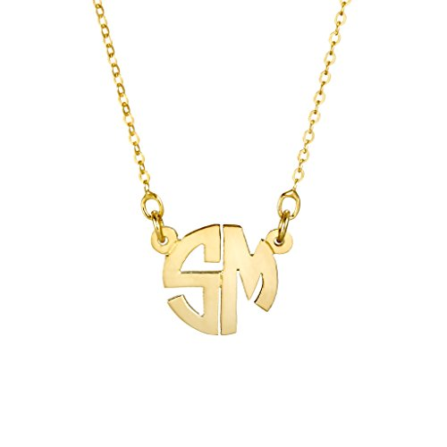 Custom Monogram Initial Necklace - Personalize with 2 Initials (16 inch chain w/2 inch - Plated Gold Chains Canada