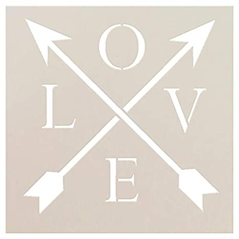 Love - Arrows Stencil by StudioR12 | Rustic Word Art -Reusable Mylar Template | Painting, Chalk, Mixed Media | Use for Journaling, DIY Home Decor - STCL1441 CHOOSE SIZE (6 x 6) Studio R 12