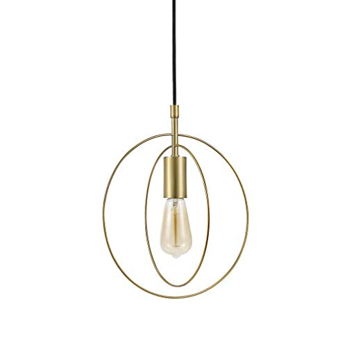 (Rivet Mid-Century Modern Double Circle Plug-In Hanging Pendant Chandelier With LED Light Bulb - 11.5 x 10 x 13.25 Inches, Gold Satin Brass)