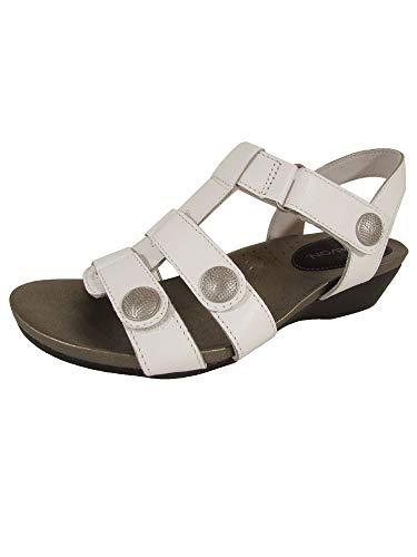 Aravon Womens Standon Tbar Open Toe Sandal Shoes, White, US 7 W
