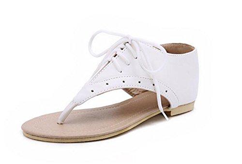 Cabeza Flats Correa Cuero White QXH de Zapatos Mujer de Sandalias de Redonda wTUa4RqY