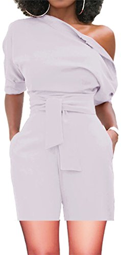 Shinfy Jumpsuits for Women White Rompers One Shoulder with Belts Two Piece Outfits S-XXL